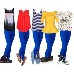 blue denim jeans pants - black graphic top - red top - navy and white striped top - yellow peplum top - white graphic top