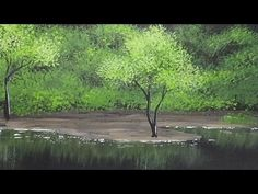 Acrylic Painting | Trees and Bushes on a Shoreline | Landscape Painting