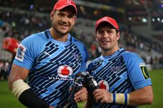 Morne Steyn Photos - Pierre Spies of the Vodacom Bulls with Morne Steyn after the Super Rugby match between The Sharks and Vodacom Bulls at Kings Park on May 2013 in Durban, South Africa. - Sharks v Bulls Pierre Spies, South African Rugby Players, Bull Pictures, Super Rugby, Australian Football, Kings Park, Beefy Men, Sharks, Soccer