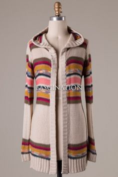 Long sleeve stripe detailed knit cardigan with hood