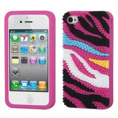 Insten Colorful Zebra Spike Soft Silicone Skin for Apple iPhone 4/ 4s