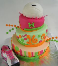 volleyball cakes | sweet 16 topsy turvy cake for a sporty and fun girl chocolate cake ...