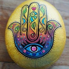 My Hamsa painted stone Pebble Painting, Dot Painting, Pebble Art, Stone Painting, Hamsa Painting, Stone Crafts, Rock Crafts, Arts And Crafts, Diy Crafts