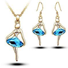 Ballet Dancer Gold Plated Blue Crystal Ballerina Necklace Earrings Set | eBay
