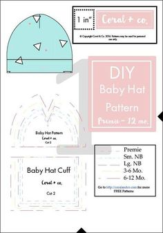 premie baby hats DIY Baby Hat Sewing Pattern and Tutorial Sizes Preemie, Newborn to 12 Months. How to sew a knit baby hat pattern with free tutorial. Make your own baby hat. Knit baby hat pattern is so soft on babies head. Hat Patterns To Sew, Sewing Patterns Free, Baby Patterns, Sewing Tutorials, Free Pattern, Pattern Sewing, Sewing Tips, Sewing Ideas, Free Sewing
