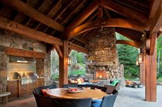 out door patio with fire place.
