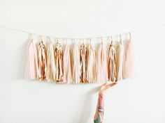 Blush, Rose Gold and Champagne Shimmer Tassel Garland - Baby Shower Decorations, Blush Wedding Decor, Bachelorette Party, High Chair Banner by pomtree on Etsy Blush Roses, Blush Pink, Glamping, Baby Shower Decorations, Wedding Decorations, Diy Tassel Garland, Garland Ideas, Tassels, Tissue Paper Tassel