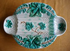 Antique majolica asparagus platter made by  by Frenchpleasures