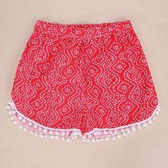 2016 Summer Style Boho Women Shorts Dot Printed Pom Pom Hem Elastic Waist Sexy Shorts Casual Beach Femme Black Red