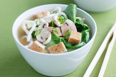 High in fibre and low in saturated fat, our Japanese tofu, bok choy and miso noodle soup will leave you satisfied.