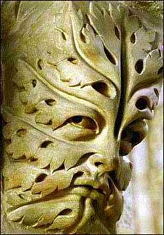 """Bamberg Green Man, Germany, early 13th century. The whole face is composed of a leaf and is sometimes called a """"foliate head"""" or """"foliate mask"""". This is one of the oldest variants of the Green Man."""