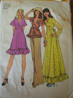 1970s vintage pattern maxi dress dress blouse ruffles by ultravox, $7.50