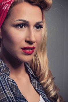 pin up blonde girl retro style blond model vintage concept