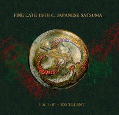 Button--Late 19th C. Satsuma Pottery Dragon in Uncommon Dark & Lustrous Style