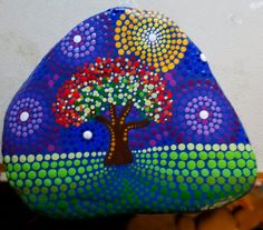 Large Painted Rock ~ Fall Tree ~Dot Art ~ Stone ~ Autumn ~ Colorful Decor ~ Hand Painted ~ Art ~ Painting ~ by Miranda Pitrone ~ Gift by P4MirandaPitrone on Etsy