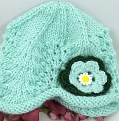 Lacy #Baby #Hat Soft Green 3-6 mos 2-tier Flower with Daisy Button Center Caron Simply Soft Yarn @ntonelli