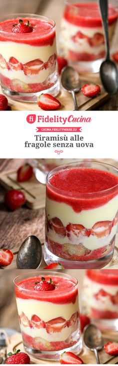 Tiramisù alle fragole senza uova Italian Desserts, Italian Recipes, Burritos, Rhubarb Crumble, Eggless Recipes, Cheese Dessert, Cheese Tarts, Food Obsession, Strawberry Desserts