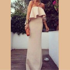 Waterfall Ruffle Maxi Nude maxi with waterfall ruffle top. So cute! Has weight to it (not thin). The dress does stretch, stretch band on the ruffle tube top. New Length: 41.5 inches Width: 12 inches wide under the bust line. Dresses Maxi