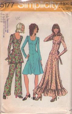 MOMSPatterns Vintage Sewing Patterns - Simplicity 5177 Vintage 70's Sewing Pattern FABULOUS Mod Young Edwardian Basque Waist Ruffled Circle Skirt Maxi Gown, Party Dress, Tie Back Tunic Top & Pants Size 16