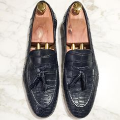 Philippe Mississippi Navy Blue Alligator shoes.  hand made in Italy