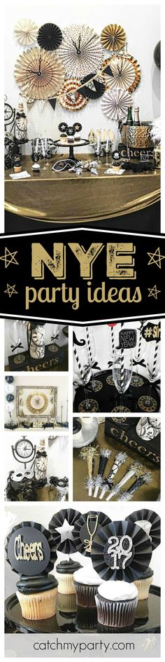 Check out this fantastic silk pj New Year's Eve party. Love the dessert table decorations!! See more party ideas and share yours at CatchMyParty.com