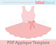 Ballet Tutu Dress Applique Pattern PDF Applique Template Instant Download via Etsy