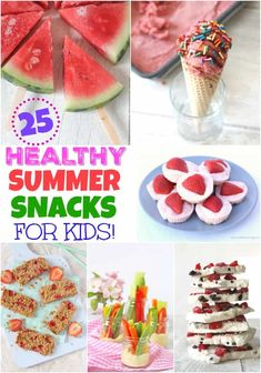 25 of The Best Healthy Summer Snack for Kids! 25 easy and delicious summer snacks for kids, all super healthy too! Summer Kids Snacks, Healthy Summer Snacks, Healthy Snacks For Kids, Easy Snacks, Healthy Treats, Summer Activities, Summer Treats, Snacks Kids, Healthy Cake
