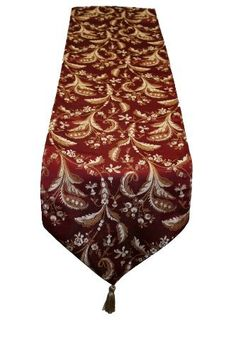 """Luxury Damask Design 13"""" X 70"""" Table Runner Color: Burgundy by Violet Linen. $14.99. Table runner is accented with gold tassels on each end. Update your home decor with this attractive table runner .. Available in beige, gold, or burgundy color options, 100-percent polyester. Table decoration with attractive damask Luxury designs will add a fresh touch any room. Machine Washable, Imported .. Luxury 13*70"""" Runner 3301-BU-G Color: Burgundy Features: -Table runner.-Material: 1..."""