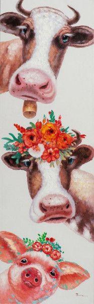 Produktinformationen  · Gemälde · bunt · Holz Bunt, Cow, Animals, Funny Cows, Decorating Ideas, Creative, Pork, Art Print, Art Production