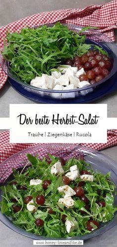 5 Minuten Salat mit Trauben, Ziegenkäse und Rucola Easy Peasy, Fall Recipes, Low Carb Recipes, Green Beans, Blueberry, Good Food, Favorite Recipes, Vegetables, Eat