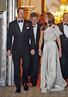 William & Kate - Jenny Packham One Shoulder Grey Gown National Memorial Arboretum Appeal St Jame's Palace 11 Nov 2011