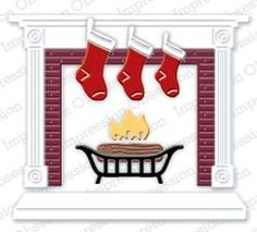 Impression Obsession io Steel Die # Fireplace Die US American Made Fireplace Set, Holiday Cards, Christmas Cards, Holiday Decor, Christmas Themes, Christmas Holidays, Frantic Stamper, Impression Obsession