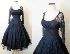 Gorgeous 1950's Midnight Blue Lace Cocktail Party by wearitagain.  This gown is by Dior and features beautiful lace and a great color.