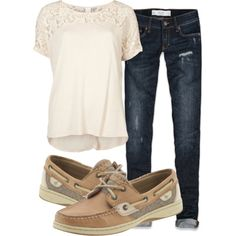 A fashion look from April 2013 featuring VILA t-shirts, Abercrombie & Fitch jeans and Sperry Top-Sider flats. Browse and shop related looks.