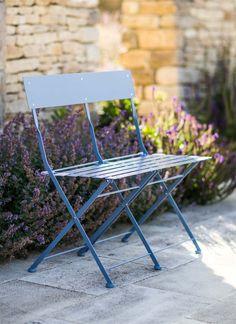 Folding Bistro Bench - Dorset Blue