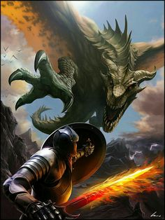 A warrior, fighting against, a Immoral Dragon got in his Kingdom, he wants and may protect his Moral people. Prevent the Dragon to reach people he loves. Dark Fantasy Art, Fantasy Artwork, Fantasy World, Mythical Creatures Art, Mythological Creatures, Fantasy Creatures, Dragon Medieval, Medieval Fantasy, Fantasy Dragon