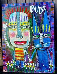 Tracey Ann Finley Original Outsider Raw Folk Painting Boy & Blue Cat BUDS canvas #OutsiderArt
