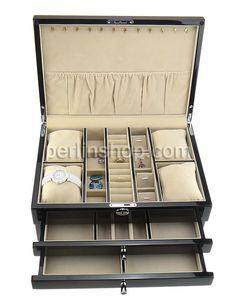 Kosmetikkasten, Holz, mit Baumwollsamt & Zinklegierung, Rechteck, Platinfarbe platiniert, schwarz, frei von Nickel, Blei & Kadmium