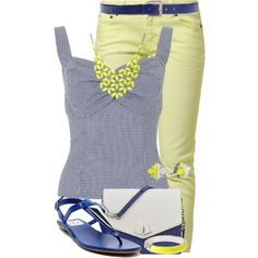 Gingham in Spring by jennifernoriega on Polyvore featuring Witty Knitters, Dolce Vita, Nine West, Alexa Starr, Diane Von Furstenberg, Vince Camuto and Giorgio Armani - I like the jeans and belt. I also like the bracelet (it's simple, and has a smooth texture). The shirt is probably too tight, even for my tastes. Like the color of the necklace but hate the style of the necklace (looks cheap and too trendy).