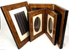 Three Luxury Burl Wood Photo Picture Frames with Marquetry Details | eBay