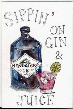 laided back.... hendricks gin illustration, gin