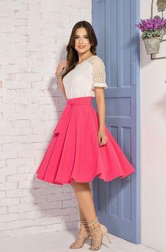 CR13154 - Saia Midi Meio Cinto Pink - Clara Rosa