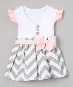 Gray & Pink Chevron Bow Angel-Sleeve Dress - Infant & Toddler