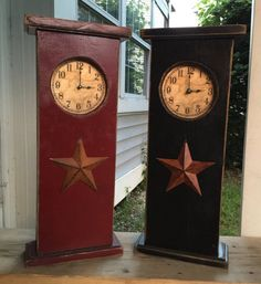 Primitive Tall Mantel Clock With Barn Star - Perfect for A Prim Fireplace Mantle