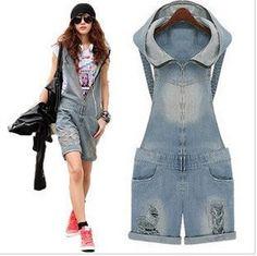 New! 2014 Summer Autumn women's hole vintage denim overalls plus size bib overalls girls cute denim overalls short jumpsuit $21.51