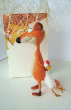 Fox and chicken needle felted