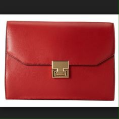 Ivanka Trump Hopewell Clutch Red Ivanka's favorite!  Gorgeous brand new clutch, perfect from day to night!  Comes with tags attached, dust bag, and plastic wrapping around hardware Ivanka Trump Bags Clutches & Wristlets