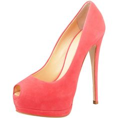 Giuseppe Zanotti Suede Peep-Toe Double-Platform Pump, Coral (£525) ❤ liked on Polyvore featuring shoes, pumps, heels, sapatos, high heels, peep toe pumps, suede pumps, coral pumps, high heel shoes and platform pumps