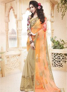 Impress everyone with your stunning look by draping this orange embellished net Saree by Mahotsav #Orange #Beige #Wedding #EveningWear