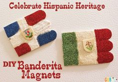 Celebrate Hispanic Heritage month with these super easy DIY kids craft! Make Banderita Magnets aka Flag magnets. Using craft sticks, glitter, magnets, and so. Hispanic Art, Hispanic Culture, Spanish Activities, Learning Spanish, Spanish Club Ideas, Diy Crafts For Kids Easy, Kid Crafts, National Honor Society, Learn Spanish Online